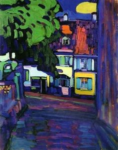 Wassily Kandinsky (Russian, Expressionism, 1866-1944): Murnau, Houses on the Obermarkt; 1908. Oil on cardboard, 33 x 41 cm. Museo Thyssen-Bornemisza, Madrid, Spain.