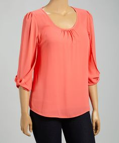Love this Coral Three-Quarter Sleeve Top - Plus by MOA Collection on Blouse Styles, Blouse Designs, Plain Tops, Cute Blouses, Dress Patterns, Plus Size Fashion, Quarter Sleeve, Look, Tunic Tops
