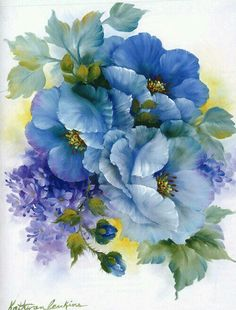 Blue flowers by Kathwren Jenkins China Painting, Tole Painting, Art Floral, Vintage Flowers, Blue Flowers, Exotic Flowers, Yellow Roses, Pink Roses, Flower Prints