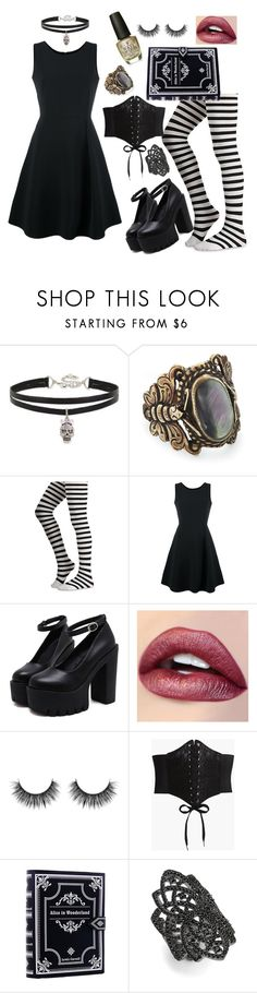 """G0th"" by loveisablindwar on Polyvore featuring Betsey Johnson, Emporio Armani, Boohoo, nOir and OPI"