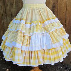 Yellow gingham layers - square dance skirt
