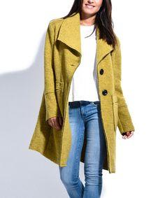Look at this #zulilyfind! Apple Green Wool-Blend Carole Coat #zulilyfinds