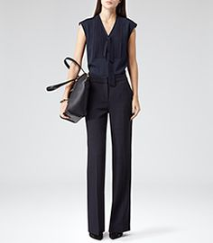 Reiss Rhodium Navy Softly Pleated Top