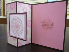 handmade card ... Z fold card ... black card and mats with pink ... like this card!!