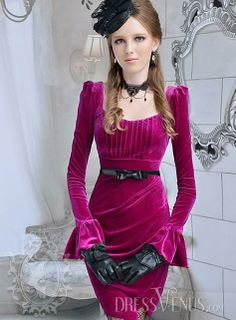 Brilliant Long Sleeves Plum Slim Bow Knot Court Dress