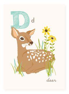D is for Deer  5x7 art print  nursery art for by SeaUrchinStudio, $4.50