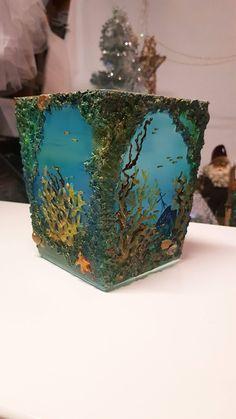 glassvase | FINN.no 14x14x17 cm    #росписьстекла #декор #decor #glassdecor #vase #hobby #handmade