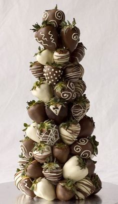 chocolate strawberry tower....had these at my wedding...Thank you Josie! <3