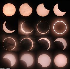 A composite image of the annular eclipse as seen from Tokyo on Sunday night