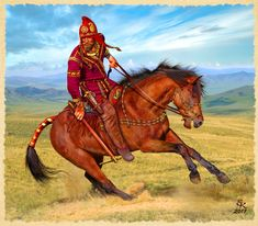 """A famous Scythian warrior from the encirclement of the king. """"Aldy-Belsky"""" archaeological culture."""