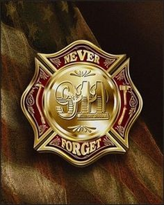 """Colors of Remembrance. 343 of our brother firefighters died in the line of duty on Sept. A shining Maltese cross bearing the words """"Never Forget in the foreground with a rendering of our country's battle-worn flag draped in the background. Firefighter Pictures, Firefighter Decals, Voyage Usa, 1st Responders, We Will Never Forget, Lighting Logo, Fire Art, United We Stand, Maltese Cross"""