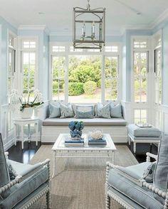 Beautiful blue sunroom image via One Kings Lane on instagram