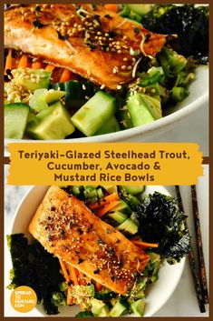 Teriyaki-Glazed Steelhead Trout, Cucumber, Avocado & Mustard Rice Bowls - Spread the Mustard Steelhead Trout Recipe Baked, Baked Trout, Baked Fish, Trout Recipes, Seafood Recipes, Teriyaki Glaze, Mustard Recipe, Low Carb Meal Plan, Rice Bowls