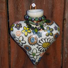 Day of the Dead Heart Wall Vase 2 by BigBearPottery on Etsy, $55.00