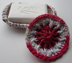 Crocheted White Plarn Soap Dish with Scrubbie