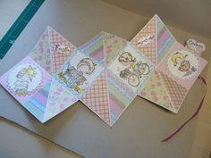 3 vierkantjes, open kaart verjaardags kaart voor Merel