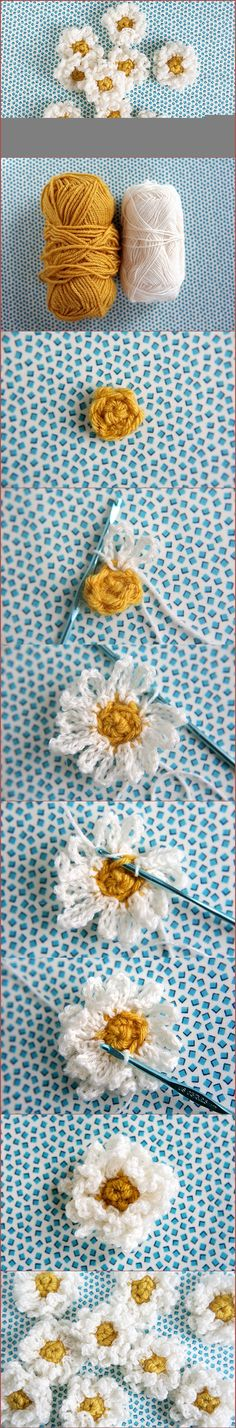 crochet daisies, add them to tshirts, crocheted hats or scarfs, or dolls clothes for decoration.