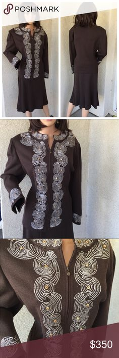 """St.John Brown Knit Blazer & Skirt Set Size 14&16 St. John 2 Piece Set. Brown. Knit. New. Skirt has tags. Blazer is New without tags. Skirt is Size 14. Waist is 16.5"""" Length is 25.5"""" Laying Flat. Blazer jacket is Size 16. Features a White Spiral Embroidery on the front, on the neck and on the sleeves. Length from shoulder to hem is 24.5"""" Sleeve length is 22"""" Bust is 21""""Laying Flat. 80% Wool 20% Rayon. St. John Jackets & Coats Blazers"""