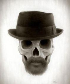 Heisenberg(Breaking Bad) Skull by Travis Louie Heisenberg, Art Breaking Bad, Bad Fan Art, Real Human Skull, Breakin Bad, Walter White, Airbrush Art, Skull And Bones, Memento Mori
