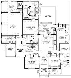 Floor Plans AFLFPW12786 - 1 Story French Country Home with 4 Bedrooms, 4 Bathrooms and 3,354 total Square Feet
