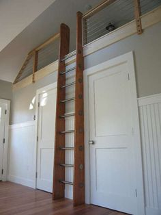Ship's Ladder for Loft/Library/Attic - Custom Built - Natural Wood & Stainless. I would love to have a loft/library/attic thingie like this in my bedroom Library Ladder, Attic Ladder, Attic Loft, Loft Room, Bedroom Loft, Mini Library, Loft Ladders, Mezzanine Bedroom, Attic Office