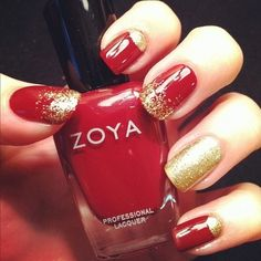 Image result for red and gold nails