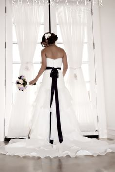 Black sash to add a touch of something dark :) Wedding Dreams, Dream Wedding, Wedding Day, Wedding Bells, Lace Wedding, Black White Wedding Dress, White Weddings, Hair Ornaments, Wishful Thinking