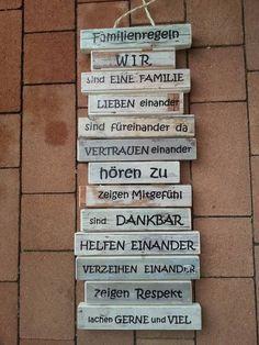 Familienregeln - Holzschild / Wanddeko -  Das perfekte Geschenk für Valentinstag / Hochzeit / Geburtstag