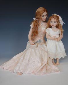 "Diane Keeler art dolls (mother and child; ""Morning"") #artdoll"