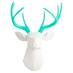 Showcasing a deer head silhouette in white and turquoise, this eye-catching wall decor is perfect displayed above your living room mantel or entryway console...
