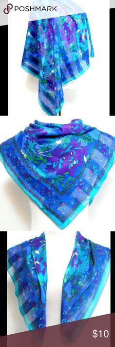 """Silk Chiffon Scarf 30"""" x 30"""" Teal/Purple/Blue Teal/purple/blue/white floral design. Sheer,  silk chiffon fanric. Rolled hem. Np maler,  care or contents tag. Very good condition. Unknown Accessories Scarves & Wraps"""