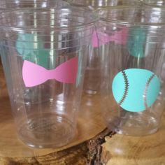 My favorite item of the day. Customer picked mint baseballs and soft pink bows for her party cups!
