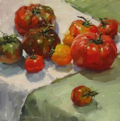 Karen Werner Fine Art: AMY'S HEIRLOOMS - a still life oil painting of tomatoes from Amy's Farm