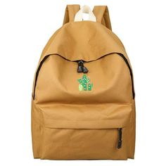 5112e5d214158 Cactus Embroidery Simple Canvas Backpack