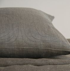 ROSE-charcoal.  Charcoal grey pure linen with grey embroidery. Feather-down insert. Medium 17