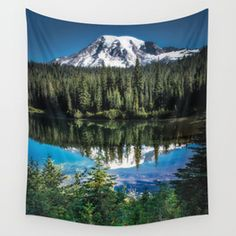 Mountain Lake Reflection 2017 Wall Tapestry