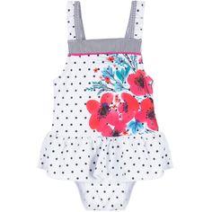 Deux Par Deux White Polka Dot Sun Protective Swimsuit (UPF 30) at Childrensalon.com