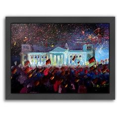 Americanflat 'German Reunification Festivities Berlin Reichstag' by M Bleichner Framed Original Painting Size: