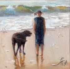 Friends by the seaside, artist Anna Tikhomirova, oil, 10 x 10 cm, copyright 2014 Dog Beach, Z Arts, Dog Art, Seaside, Anna, Ocean, Watercolor, Fine Art, Dogs