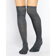 ASOS Over The Knee Socks ($7.61) ❤ liked on Polyvore featuring intimates, hosiery, socks, accessories, knee sock, grey, asos socks, above knee socks, knee hi socks and over knee high socks