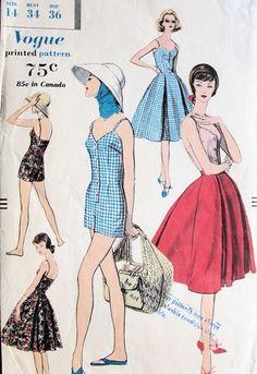 Vogue 9621 ©1958 playsuit & skirt