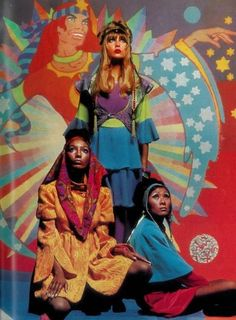 Psychedelic sixties — Pattie Boyd and unknown models, clothing by The. Psychedelic Fashion, Psychedelic Art, 60s And 70s Fashion, Vintage Fashion, Seventies Fashion, Mod Fashion, Fashion Tips, 70s Aesthetic, Aesthetic Women