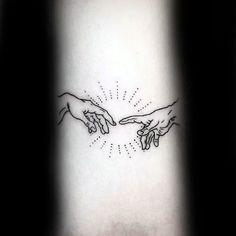 Tattoo Trends – Small Simple Inner Forearm Mens The Creation Of Adam Tattoo De. - Tattoo Trends – Small Simple Inner Forearm Mens The Creation Of Adam Tattoo Designs coolTop Tatt - Hand Tattoos, Top Tattoos, Trendy Tattoos, Forearm Tattoos, Body Art Tattoos, Small Tattoos, Tattoos For Guys, Tattoo Drawings, Sternum Tattoo