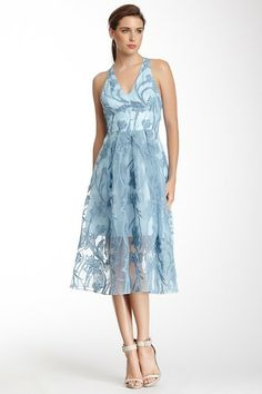 Floating Iris Embroidered Halter Dress by Yoana Baraschi on @HauteLook