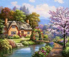 Cute cottage by the stream! Landscape Pictures, Landscape Art, Landscape Paintings, Beautiful Paintings, Beautiful Landscapes, Beautiful Gardens, Cute Cottage, Cottage Art, Thomas Kinkade Art