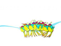 Caterpillar Birds Lined Up on a Branch by BrookeConnorDesign, $20.00