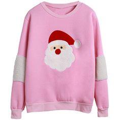 Womens Long Sleeve Christmas Santa Printed Pullover Sweatshirt Pink ($20) ❤ liked on Polyvore featuring tops, hoodies, sweatshirts, red, pink sweatshirt, pullover sweatshirts, red sweat shirt, sweat tops and pink long sleeve top