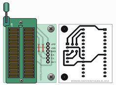 Circuito impreso del zócalo para micros hasta 28 pins