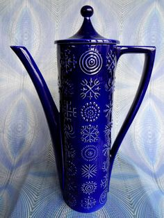 Portmeirion Coffee Pot Totem Design In Cobalt