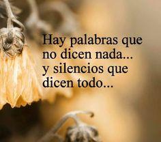 Hay palabras que no dicen nada....y el silencio lo dice todo